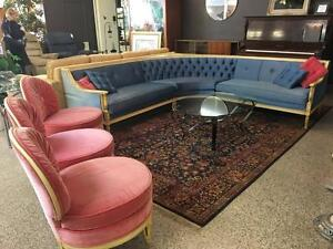 Post Modern Sectional + 3 Coral Pink Fancy Chairs + Glass Coffee Table