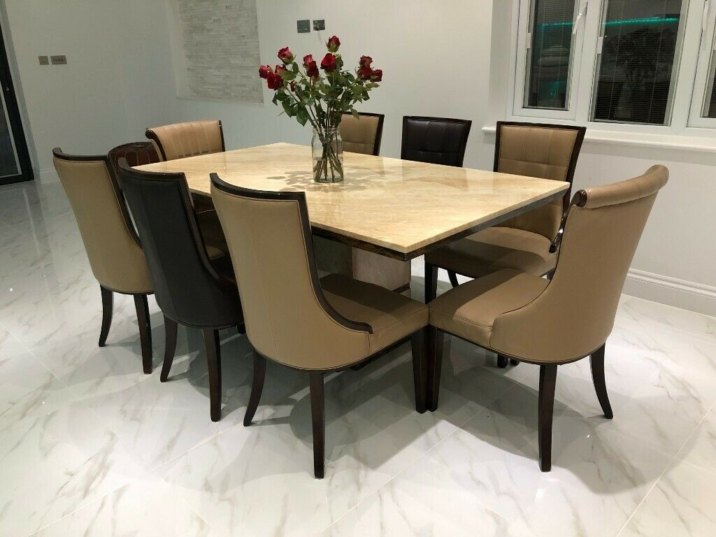 Italian Marble Dining Table Used Cream And Brown With 8 Chairs In Rainham London Gumtree