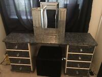 Solid pine dressing table and mirror