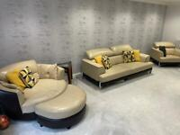 DFS leather cream & brown sofas