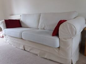 3 seater sofa for sale - £75; cream colour with machine washable covers