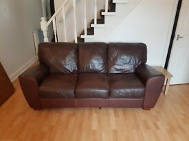 3 seater brown lether sofa