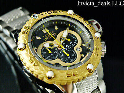 NEW Invicta Men's 52mm Subaqua Noma VI Chronograph Black Dial Gold Tone SS Watch