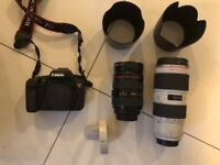 Canon 7D, 70-200 2.8 lens, 24-70 2.8 lens and case