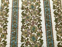 Vintage1960s Retro Ivory Green Paisley Scroll Readymade Curtains Pair 122 x128cm