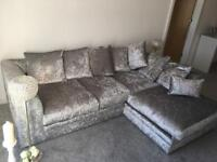 Silver Crushed velvet sofa in excellent condition