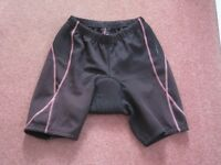 Ladies Muddy Fox Black and Purple Cycling Shorts Size 10 in good condition