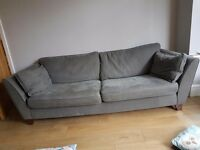 M&S Barletta grey 2 seater and 3 seater sofa with matching pouffe