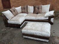 Fantastic 1 month old brown mink crushed velvet corner sofa and footstool,or larger sofa.delivery