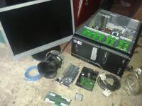 COMPUTER DESKTOP TOWER CASE+PSU, DVDRW INC FAULTY MOTHERBOARD,SPARES.MONITOR RAM,500GB HARD DRIVE