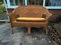 Cane Settee with Cushion. Ideal for Conservatory etc.