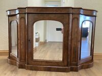 19thC Victorian Walnut Mirro rDoor Credenza/Chiffonier/Sideboard