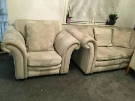 Dfs two seater sofa and 2 arm chairs