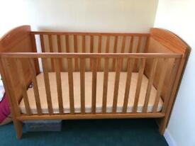 Cot bed with mattress - height adjustable cot converts to toddler bed