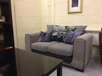 Beautiful 2 Seater Fabric Sofa Settee with Cushions FURNITURE CENTRE Delivery Available