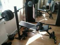 Weights bench + weights