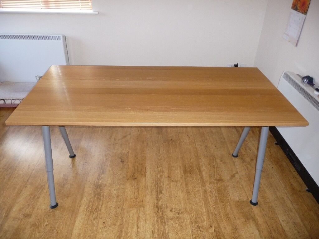 New Writing Wood Desk Table Birch Colour Worktop Computer Office Home Furniture Metal Frame And Legs
