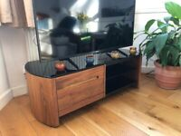 TV Stand - Alphason wooden stand unit with glass top and shelves