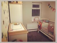 Mamas and papas wardrobe, toy chest, shelved cupboard with nappy change, wall drawers and cot
