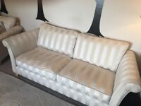 Cream sofa, matching footstool with storage and co-ordinating armchair