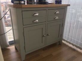 Wooden Sideboard, Real Wood, Painted Green with a natural top. Tres chic!