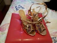 Gold strappy shoes size 7