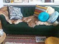 3 Seater Green Jaquard Chesterfield Sofa