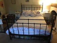 Black metal Ikea double bed frame
