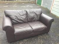 Next Brown Leather Sofas x 2 - £60 for pair