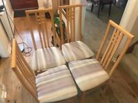 4x solid wooden chairs