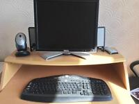 Logitech wireless keyboard and mouse. Dell monitor and speakers