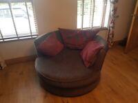 Grey corner sofa and cuddle chair