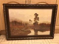 Dark Wooden Framed Landscape Scenic Picture