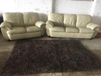 CREAM LEATHER SUITE 3+2 IN EXCELLENT CONDITION FREE LOCAL DELIVERY