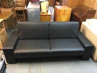 BLACK PVC CLICK CLACK SOFA BED (Delivery available)
