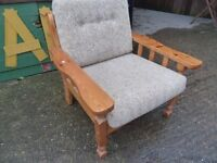 Chair wood effect comfy retro good condition £5