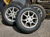 """14"""" TSW ALLOY WHEELS WITH NEW TYRES"""