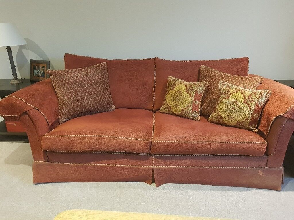 Duresta Sofa And Matching Chair Also 5 Cushions Deep Red