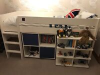 stomp mid sleeper with book shelf, desk and chest of drawers