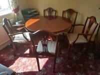 Extending table and 5 chairs