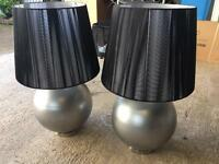 Large Silver and Black Designer Lamps