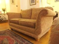 3 piece suite, excellent condition, paisley pattern cloth, settee 175cm long, buyer must collect