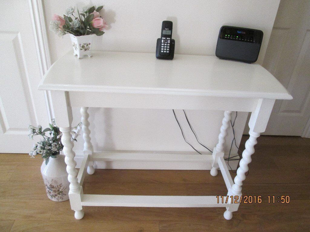 Solid Oak Console Table With Barley Twist Legs Painted Laura Ashley Country White