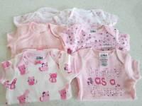Baby 0 -3 month vests x6