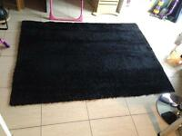 Beautiful xl black fluffy rug 140 x 190 cm soft furnishings chic living room kitchen decor