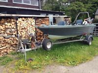 Boat (day fishing boat), 16ft, 10hp Honda outboard, fish finder 5 rod, trailer w/electric winch.