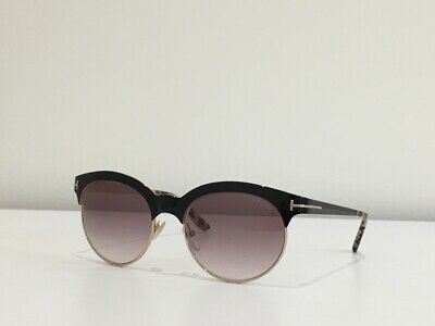 Tom Ford Angela TF 438 01F Round Black Rose Gold Gradient Sunglasses 53-18-135