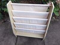 Children's Sling Bookcase Sling in Cream fabric and Beech wood sides