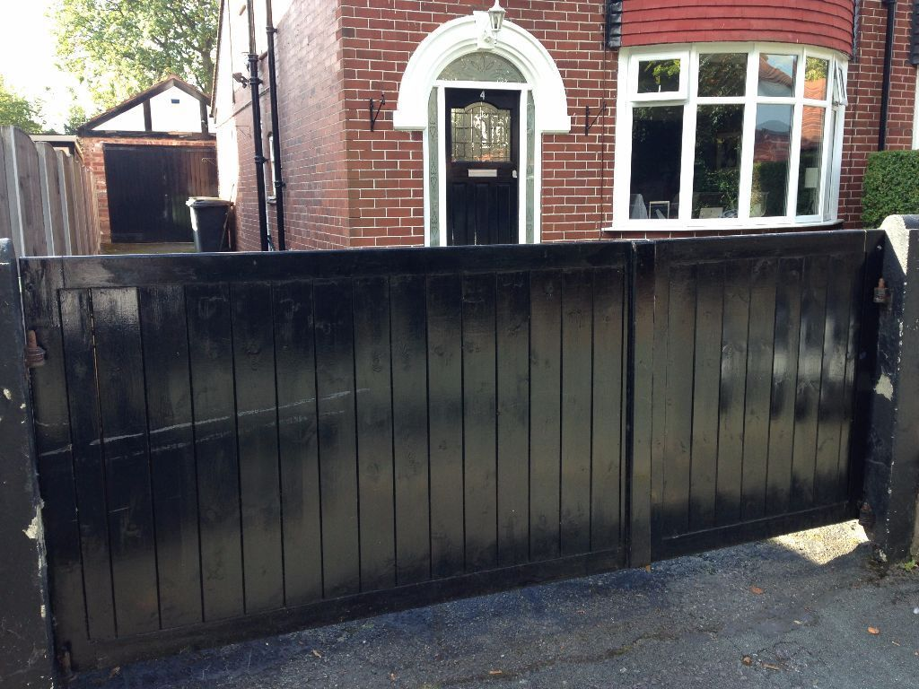 Attractive Black Wooden Driveway Gates Including Single