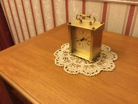 Lovely Brass Estyma Quartz Carriage Clock in Good Working Order